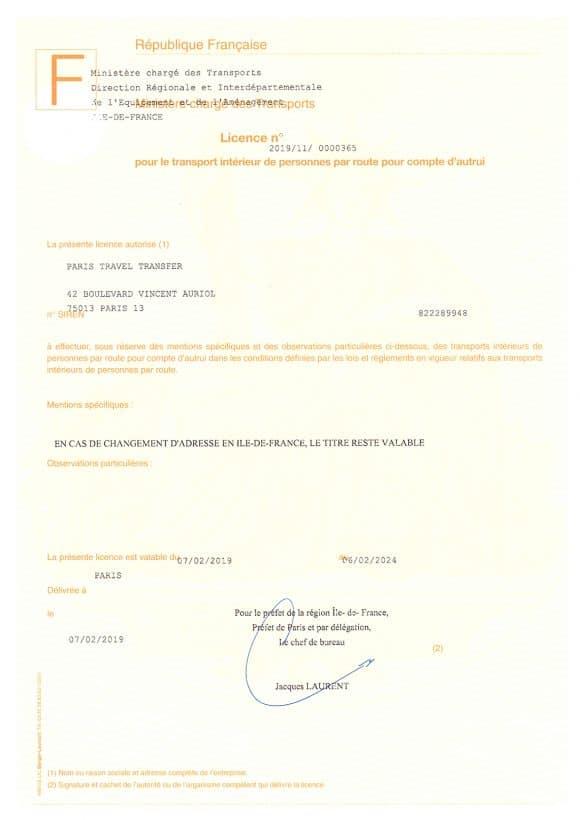 """Транспортная лицензия для перевозки туристов по Франции и Европе SAS """"Paris Travel Transfer"""""""