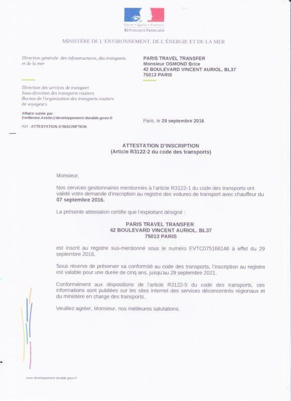 VTC лицензия на транспортную перевозку туристов по Парижу и городам Франции